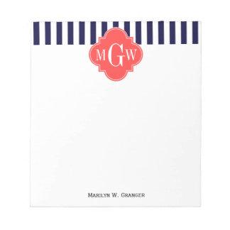 Navy White Stripe Coral Red Quatrefoil 3 Monogram Notepad