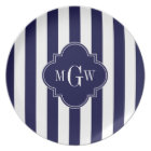 Navy White Stripe Navy Blue Quatrefoil 3 Monogram Plate