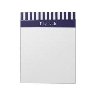 Navy White Stripe Navy Blue Ribbon Name Monogram Notepad