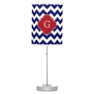 Navy Wht Chevron Cranberry Red Quatrefoil Monogram Table Lamp