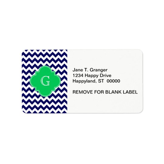 Navy Wht Chevron Emerald Green Quatrefoil Monogram
