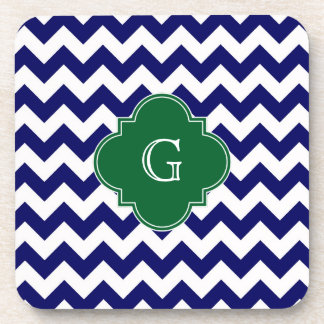 Navy Wht Chevron Forest Green Quatrefoil Monogram Coaster