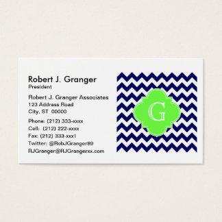 Navy Wht Chevron Lime Green Quatrefoil Monogram Business Card