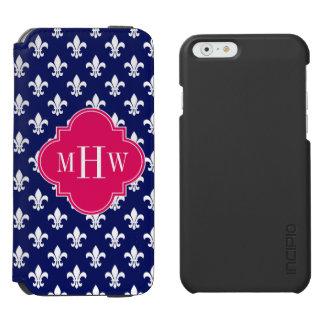 Navy Wht Fleur de Lis Raspberry 3 Initial Monogram Incipio Watson™ iPhone 6 Wallet Case
