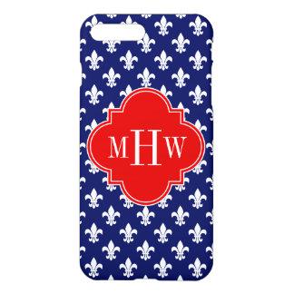 Navy Wht Fleur de Lis Red 3 Initial Monogram iPhone 7 Plus Case
