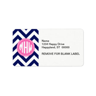 Navy Wht LG Chevron Hot Pink Circle 3I Monogram