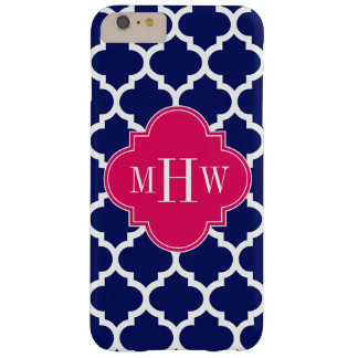 Navy Wht Moroccan #5 Raspberry 3 Initial Monogram Barely There iPhone 6 Plus Case