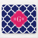 Navy Wht Moroccan #5 Raspberry 3 Initial Monogram Mouse Pad
