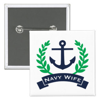 Navy Wife Anchor 2 Inch Square Button