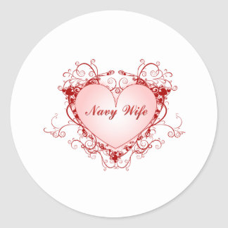 Navy Wife Heart Classic Round Sticker