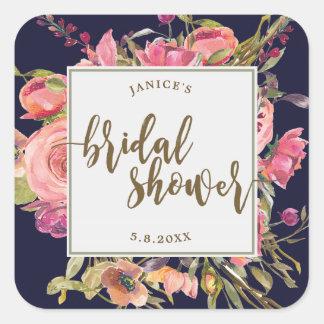 navy wildflower floral bridal shower sticker favor