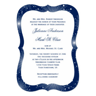 Navy With White Sunbursts Wedding Card