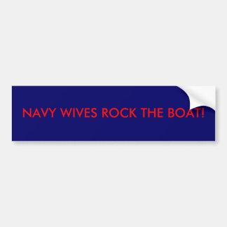 NAVY WIVES ROCK THE BOAT! BUMPER STICKER