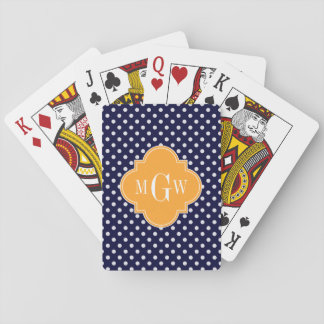 Navy Wt Polka Dot Cantaloupe Quatrefoil 3 Monogram Playing Cards