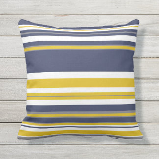 Navy Yellow and Gray Stripes Throw Pillow