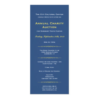 """Navy yellow business gala event corporate long 4"""" x 9.25"""" invitation card"""