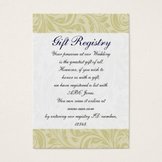 Navy Yellow  FAUX ribbon diamante buckle Wedding Business Card
