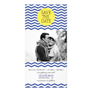 Navy & Yellow Save The Date Photo Photo Card
