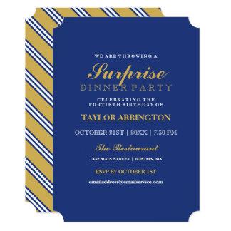 Navy & Yellow Stripes   Dinner Party Invitation