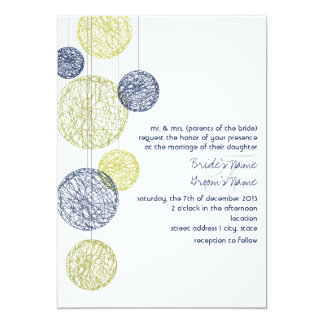 Navy & Yellow Twine Globes Wedding Invitation