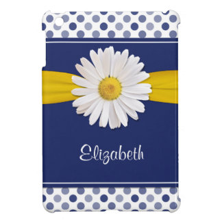 Navy Yellow White Polka Dots Daisy Personalized iPad Mini Case