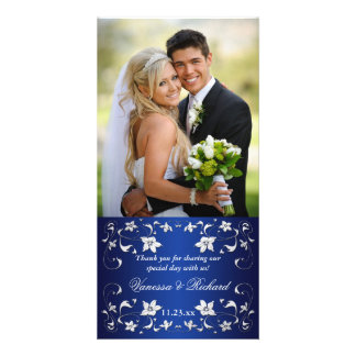 Navyl Blue, Silver Floral Wedding Photo Card