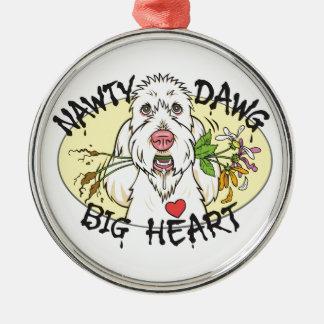 Nawty Dawg Big Heart Premium Round Ornament