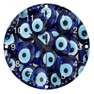 Nazar Amulets Evil Eye Stones Blue Pattern Large Clock