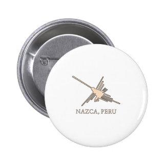 Nazca Hummingbird Geoglyph Newsprint 2 Inch Round Button