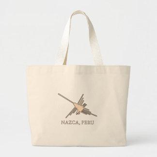 Nazca Hummingbird Geoglyph Newsprint Large Tote Bag