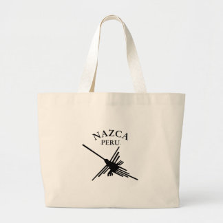 Nazca Peru Hummingbird With Curved Text Large Tote Bag