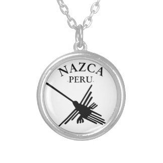 Nazca Peru Hummingbird With Curved Text Silver Plated Necklace