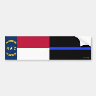 NC State Flag & Thin Blue Line Flag Bumper Sticker