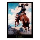 "NC Wyeth Wild West Painting ""Bucking"" Card"