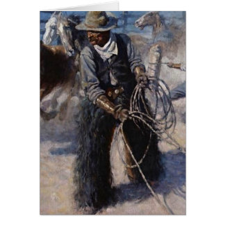 "NC Wyeth Wild West Painting ""Roping Horses"" Card"