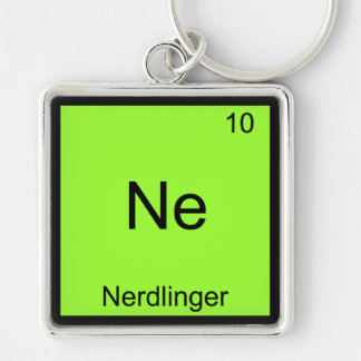 Ne - Nerdlinger Funny Chemistry Element Symbol Tee Silver-Colored Square Keychain