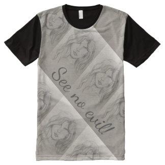 Ne voir l'aucun croquis artistique mauvais t-shirt tout imprimé