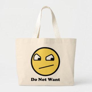 Ne voulez pas le visage impressionnant sac en toile jumbo