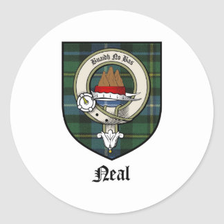 Neal Clan Crest Badge Tartan Classic Round Sticker