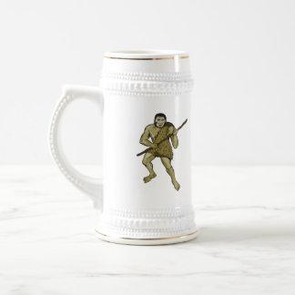 Neanderthal Man Holding Spear Etching Beer Steins