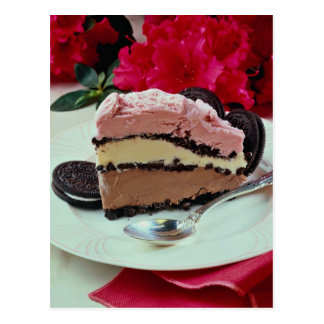 Neapolitan ice-cream pie postcard