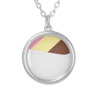 Neapolitan Ice Cream Silver Plated Necklace