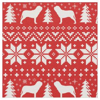 Neapolitan Mastiff Silhouettes Christmas Pattern Fabric