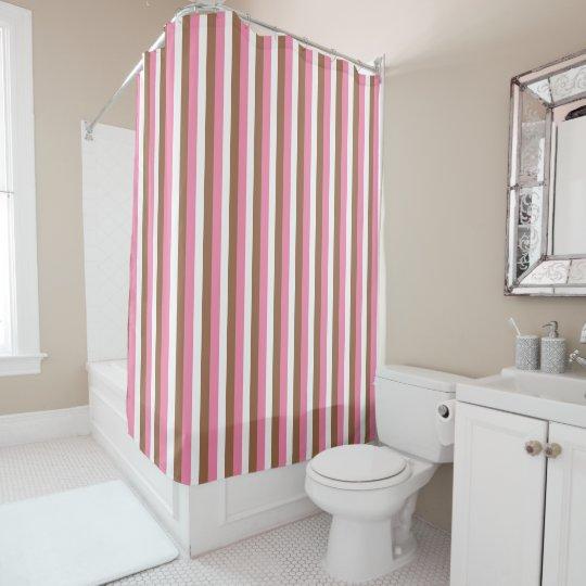 Neapolitan Pink, Brown and White Stripes