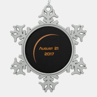 Near Maximum August 21, 2017 Partial Solar Eclipse Snowflake Pewter Christmas Ornament