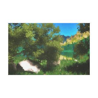 Near the lake digitally handpainted canvas print