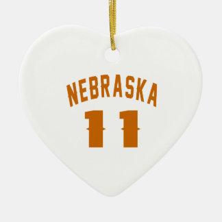 Nebraska 11 Birthday Designs Ceramic Heart Ornament