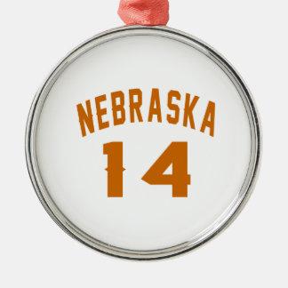 Nebraska 14 Birthday Designs Silver-Colored Round Ornament
