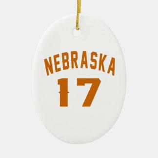 Nebraska 17 Birthday Designs Ceramic Oval Ornament