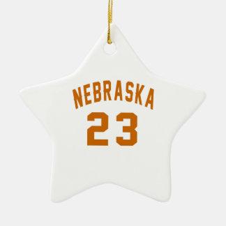 Nebraska 23 Birthday Designs Ceramic Star Ornament